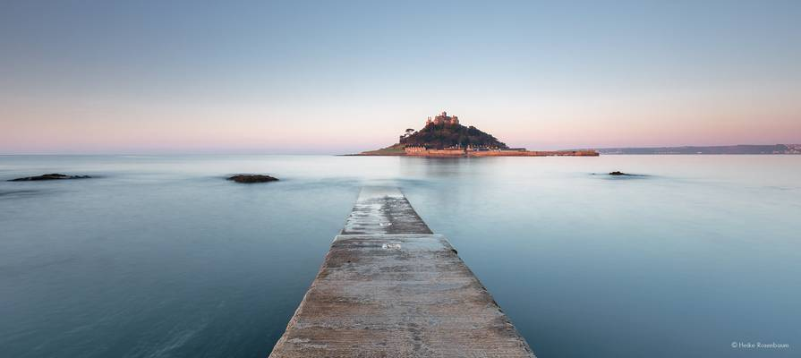St Michaels Mount in the first sunlight