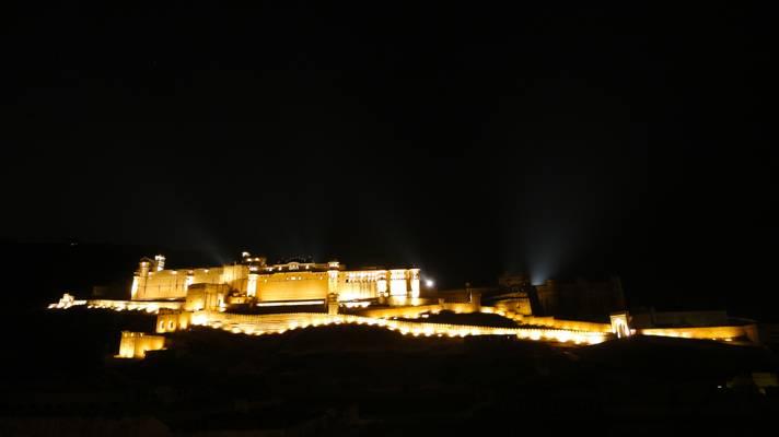 Amer fort at night, Rajasthan, India  - आमेर, उदैपर, भारत