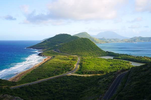 Iconic view of St Kitts island from Timothy Hill, St Kitts & Nevis
