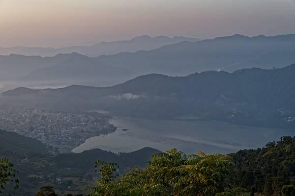 Sunrise over Lake Phewa and Pokhara, viewed from Sarangkot