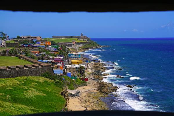 Old San Juan coastline through the gun slot, Puerto Rico