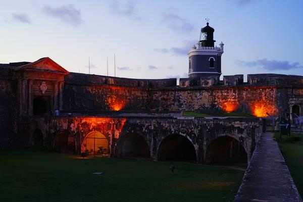 Evening lighting of Morro Castle, Puerto Rico