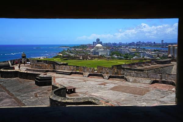 San Cristobal ramparts through the gun slot, Puerto Rico