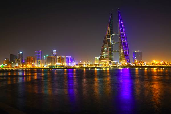 Bahrain by night. Manama downtown lights