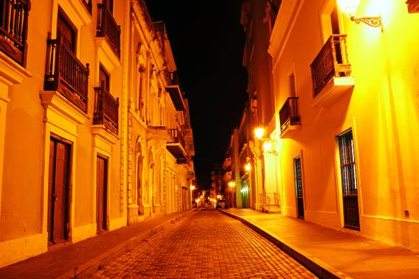 San Juan by night. Empty streets of the old town
