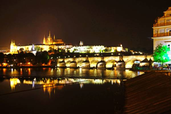 Prague by night. Reflections