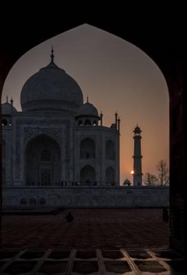 Taj Mahal framed by Kau Ban Mosque