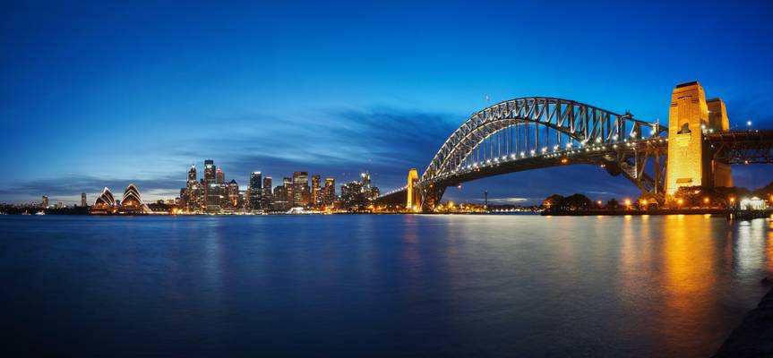 Sydney Harbour bridge, CBD and opera house after sunset, Sydney, Australia