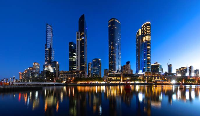 Southbank skyline from accross the Yarra at sunset, Melbourne, Victoria, Australia