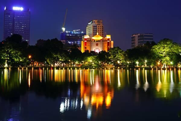 Hanoi by night. Municipal People's Committee